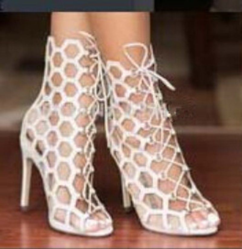Hot sale high quality suede leather fashion Cut-outs gladiator sandals boots lace-up high heel ankle summer women booties shoes new summer boots women gladiator sandals pointed toe patent leather cut outs lace up high heel boots pumps lace up ankle boots