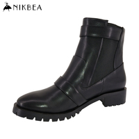 2016 Nikbea Black Chelsea Boots Pu Leather Ankle Boots For Women Winter Boots Ladies Pu Leather