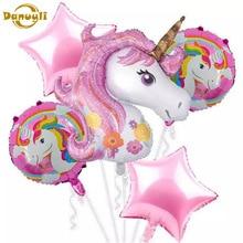 5 uds. De globos de unicornio de 18 pulgadas, globo redondo de estrella, fiesta de cumpleaños para Baby Shower, globos de decoración para niños de arco iris, suministros de fiesta de unicornio