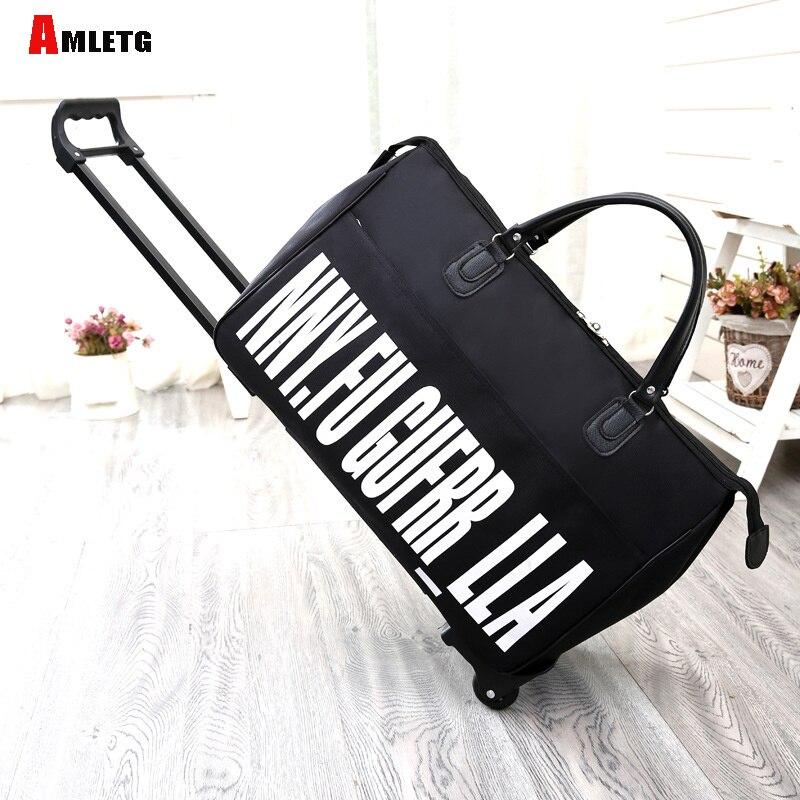 AMLETG New Hot Fashion Women's Luggage Trolley Luggage Bag Casual Roll Roll Folding Luggage Bag Travel Bag Wheels Luggage