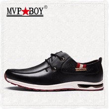 MVPBOY Men's Shoes Fashion Leather Flat Men Rubber Outsole Lace-Up Casual Shoes Comfortable Classic Style Solid Business Shoes