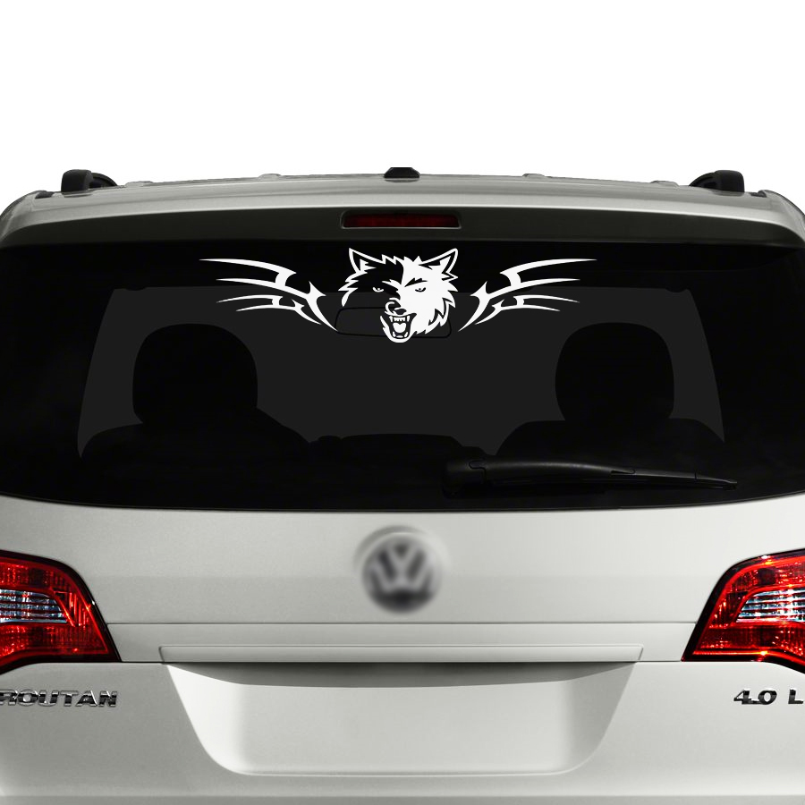 free shipping 1PC wolf cool car sticker for candy pickup jeep rear window in Car Stickers from Automobiles Motorcycles