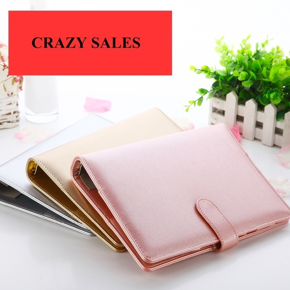 [Defective] Rose Gold Silver New Notebook A5 Leather Loose-leaf Notepad Planner Series Diary Memo Travel Journal Agenda 2018