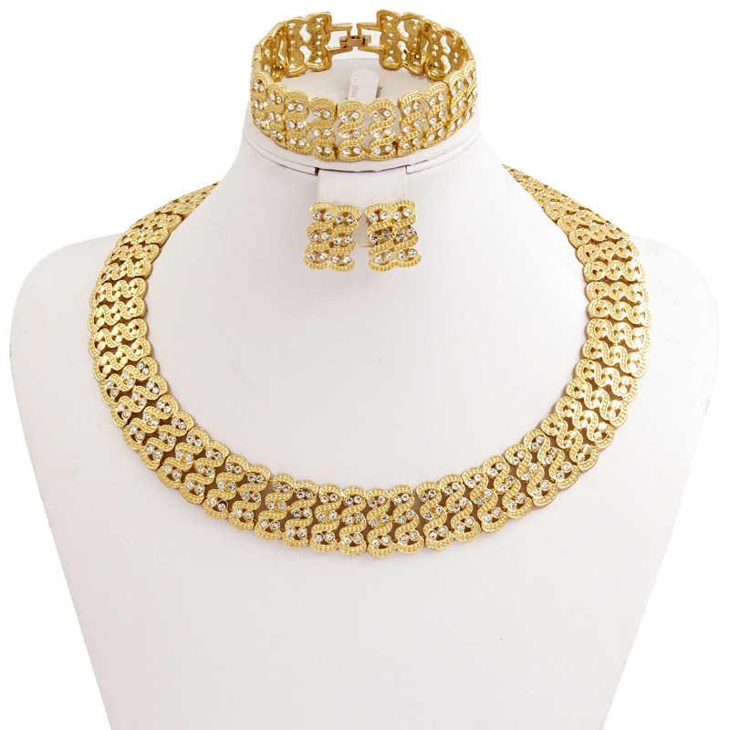 1a869a6fba9b Новая Мода Африканский для женщин золотые свадебные Комплект украшений из  Дубая Винтаж Кристалл ожерелья для мужчин