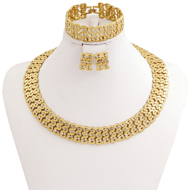 New Fashion African Women Golden wedding jewelry sets Dubai Vintage Crystal Necklaces Bracelet Ring Earrings Jewellery