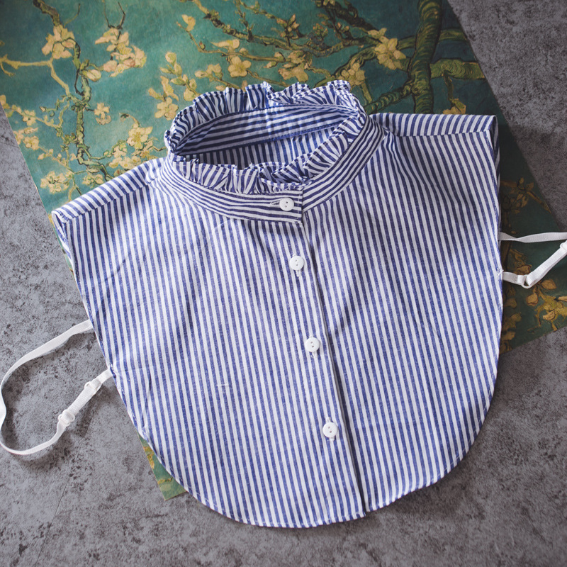 512dee07fb 2018 New Arrived Shirt Fake Collar High Quality Women And Men Blue Stripes  Autumnt Winter Collocation