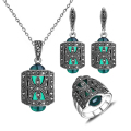 Women Gift Unique Design Antique Silver Plated Green Resin And Rhinestone Fashion Vintage Jewelry Set With Necklace Earring Ring