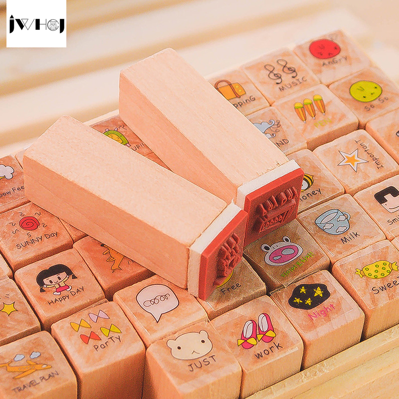 40 Pcs Set Mini Happy Day Wooden Rubber Stamp Gift Box