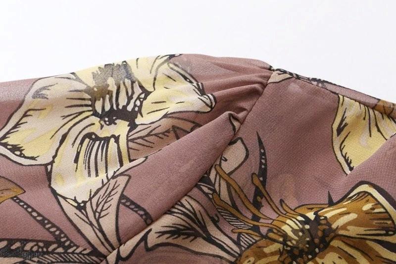 women dress Autumn winter long sleeve ruffle chiffon dress Vintage loose short dress Boho floral print tassel vestidos 19