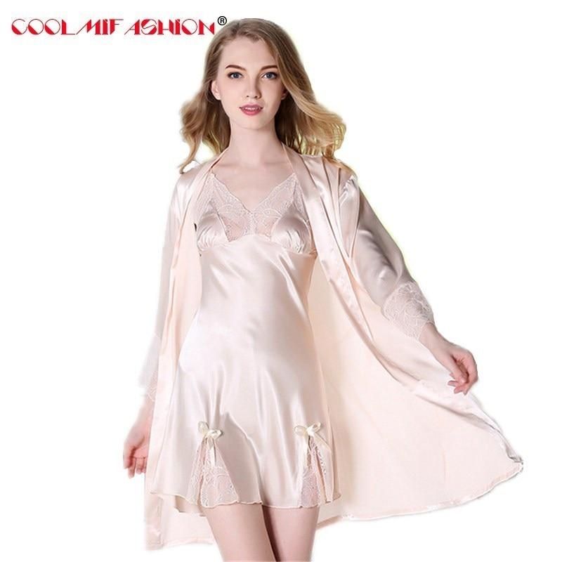 Women Satin Silk-like Robe Sets Deep V-neck Lace Patchwork bath robe femme Spring Summer Nightgown adjustable straps nightdress