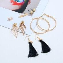 Bohopan 2019 New Design Women Alloy Earrings Set Fashion Lovely Daisy Stud Creative Geometric Accessories