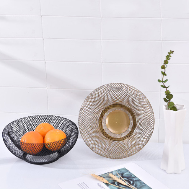 Fruit Basket Double Wall Mesh Decorative Fruit Bowl Plate Snack