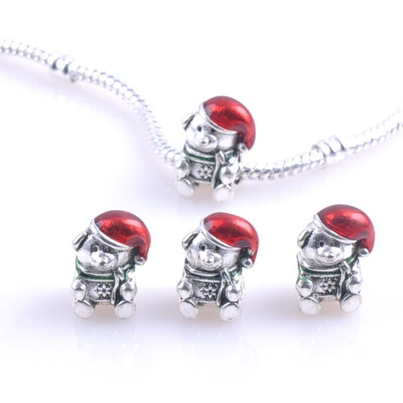 10Pcs 15x11MM Silver Christmas bear Spacers Beads Fit Pandora Charms Bracelets Jewelry Handmade DIY extanpaa flfaocma DK-044