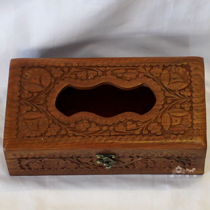 Pakistani paper drawn box tissue boxes cute fashion European creative wood carvings wooden box paper drawn