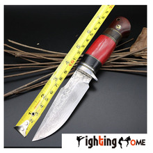 Fighting home brand 9CR18MOV One-piece keel straight knife camel bone handle hunting knife EDC tools Damascus Fixed Blade