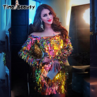 Tina Beauty Shine Sequins Dress Prom Women 2018 Clubwear Vestdos Summer Long Sleeve Evening Party Dresses Bodycon Runway Dress