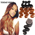 Ombre Brazilian Hair with Closure T1b 30 10A Brazilian Virgin Hair Body Wave with Closure Blonde Brazilian Bundles with Closure