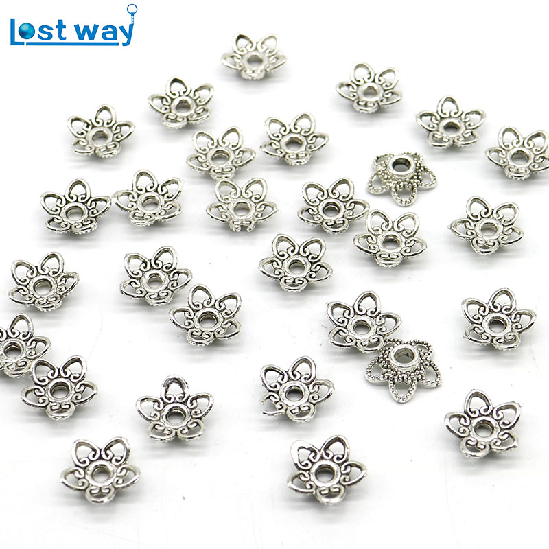 все цены на 100pcs/lot Wholesale Metal Bead Caps 10mm Tibetan Silver Plated Flower Beads End Caps Charms For Jewelry Findings hole is 2mm онлайн