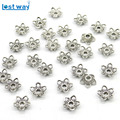 100pcs/lot Wholesale Metal Bead Caps 10mm Tibetan Silver Plated Flower Beads End Caps Charms For Jewelry Findings hole is 2mm