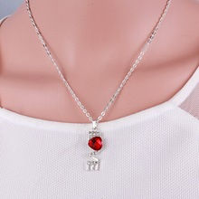 wedding Heart shaped Silver Plated Vintage Fashion Jewelry Sets red crystal Statement earring Necklace Set for women