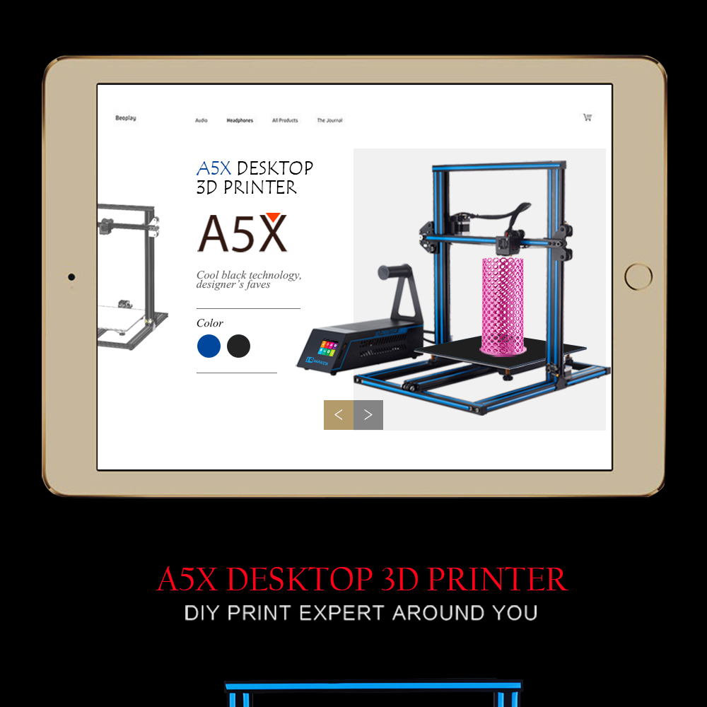 US $474 05 5% OFF JGMAKER A5X 3d Printer Max Build Size with 2 8'' HD Touch  Screen and BDG Heated Bed, Dual Z Axis Screw Rod 3d Printing Machine-in 3D
