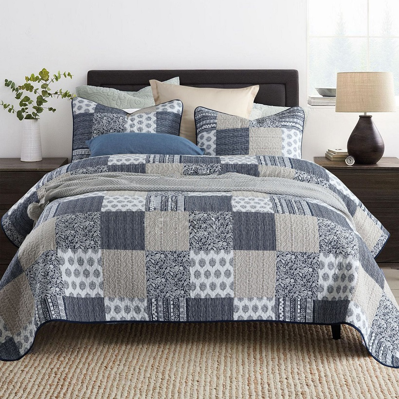 CHAUSUB Printed Bedspread Quilt Set 3PCS Washed Cotton Quilts Quilted Bedding Pillow Case King Queen Size Coverlet Sets