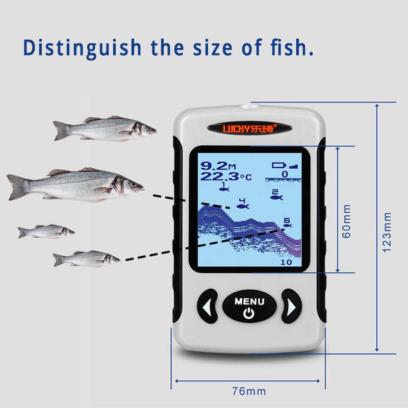 Lucky Portable Fish Finder Sensor Depth Sounder for Boat Fishing Sonar Fishfinder Transducer Fishing finder Echo Sounder FFW718