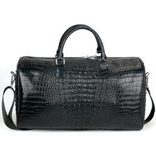 Male Two layer Leather Travel Bag Large Crocodile pattern Bi