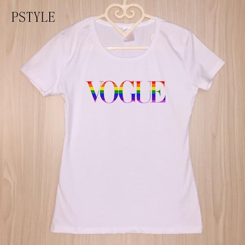Camiseta Vogue Arco Nuevo Letras Pstyle Diseño Iris Orgullo Mujer Lgbt 35RqAjL4