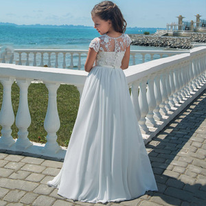Image 2 - Flower Girl Dresses With Bow Beaded Crystal Lace Up Applique Ball Gown First Communion Dress for Girls Customized Vestidos Longo