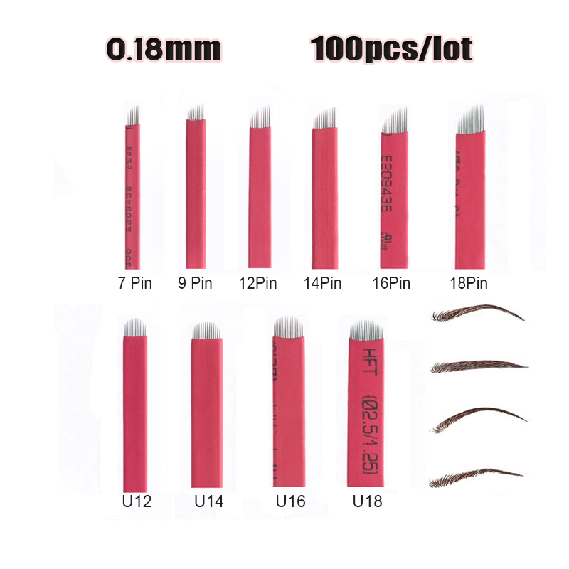 US $11.96 |100pcs 0.18mm microblading needles 12 14 16 18 pin/ u shape  Permanent Makeup Eyebrow Tattoo Needles Blade For 3D Embroidery pen-in  Tattoo ...
