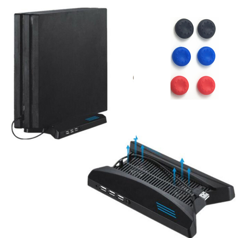 PS4 Pro Spaceship Vertical Stand Holder Support Cooling Fan 2 Cooler fans 3 HUB 2.0 Ports USB For PS4 Pro PS4PRO Storage Bracket