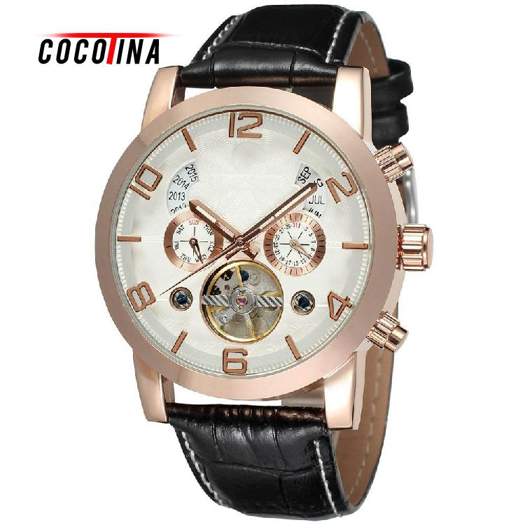 COCOTINA Mens Wrist Automatic Self Wind Watch Multifunction Mechanical Auto Analog Date Day Leather Strap Male Clock LSB3684 t winner automatic watch mens trendy mechanical auto windding silicone band wristwatches modern elegant analog hollow clock gift
