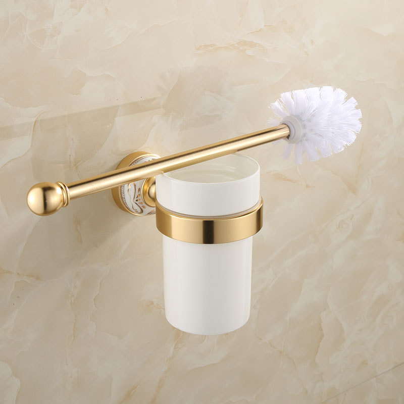 luxury durable gold and silver aluminum toilet brush holder set with cup bathroom