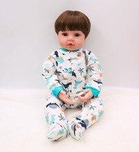 цена на 61cm Bebe Reborn boy Doll 3/4 Silicone Vinyl reborn baby dolls soft cotton body alive Baby Toy Doll For Children's Day Gifts D04