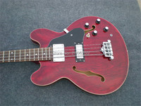 Semi hollow bass guitar.transparent red.chrome hardware.factory direct free shipping