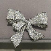 مكعب الزركون bowknot بروش دبابيس تمهيد حجر 925 فضة غرامة مجوهرات النساء شحن مجاني أعلى جودة