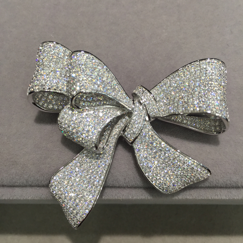 cubic zircon bowknot brooch pins pave stone 925 sterling silver  fine women jewelry free shipping  top qualityjewelry recommendationsbrooch weddingbrooch pin -
