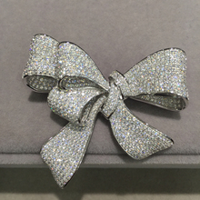 cubic zircon bowknot brooch pins pave stone 925 sterling silver  fine women jewelry free shipping  top quality