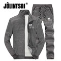 Jolintsai 2017 New Men Sportwear Casual Hoodies +Pants Set Tracksuit 2 Piece Plus Size Mens Sweat Suits Zipper Sweatshirts