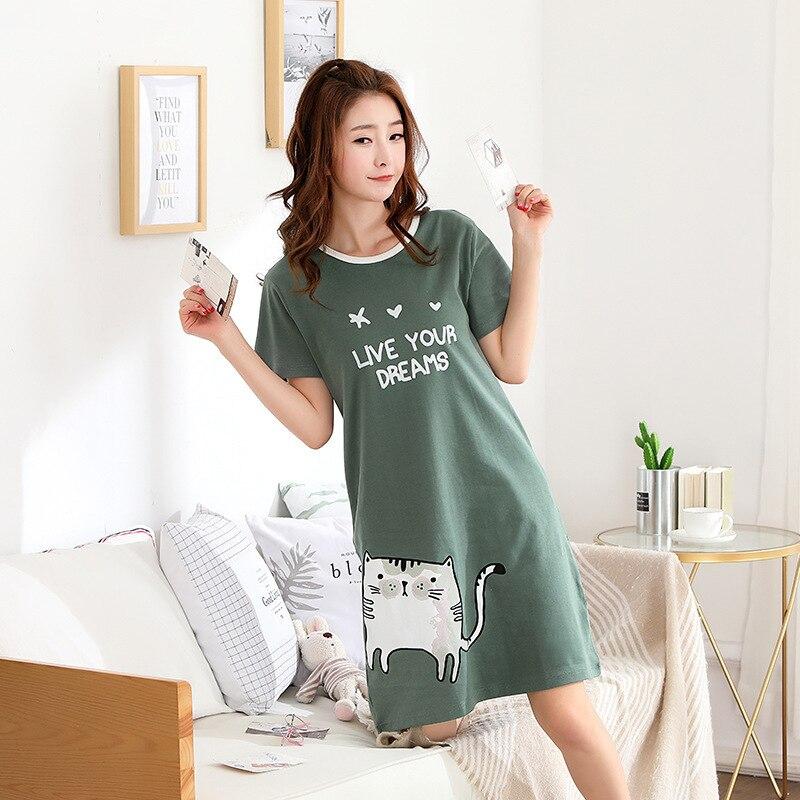 2018 New Cotton Nightgown Women Sweet Girl Lounge Cute Nightdress Sleepwear  Summer Home Dress Casual Nightwear Sleepshirts Shirt-in Nightgowns    Sleepshirts ... 8f02227db
