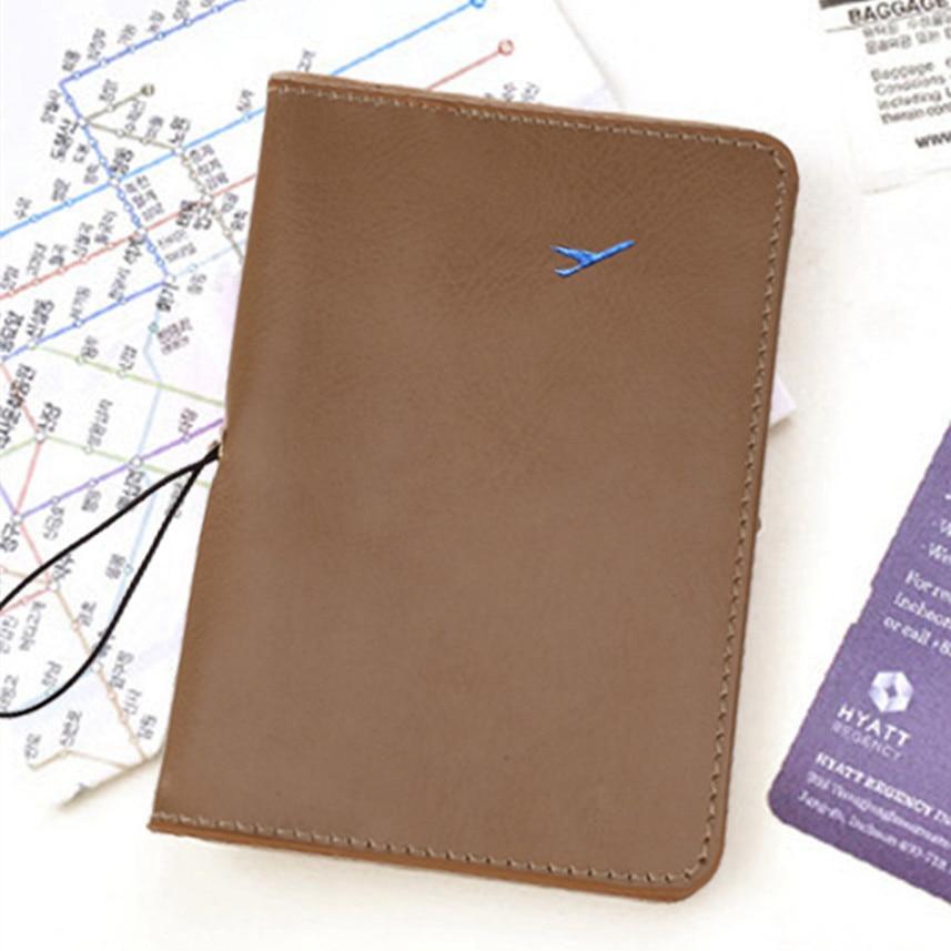 c24922800 Bolsas 2017 Money Clip Travel Leather Passport Holder Card Case Protector  Cover Wallet Bag Khaki Men Wallets Carteira feminina