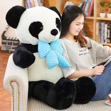 cute large panda 120cm doll plush toy bowtie panda doll soft throw pillow, christmas gift  x067