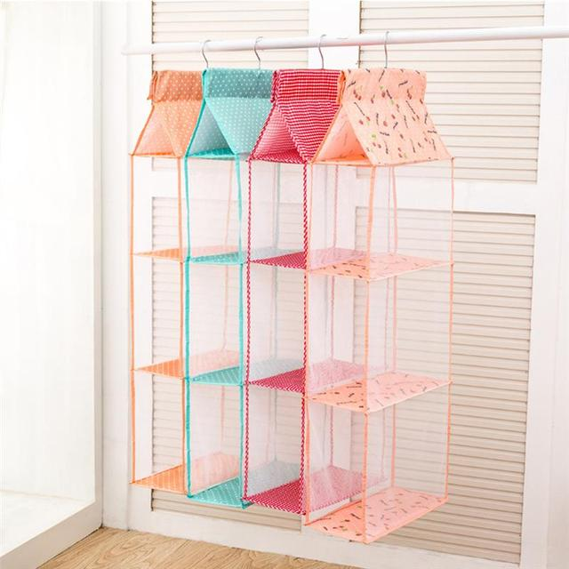 3 Layers Home Hanging Clothes Storage Box Shelves Closet Cubby Sweater Handbag Organizer For Bedroom