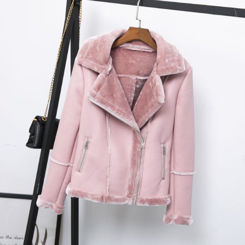 Womens Winter PU   Leather   Jacket Faux Lamb Wool Thick Motorcycle Jacket Coat Female Biker Army Green Pink Outwear