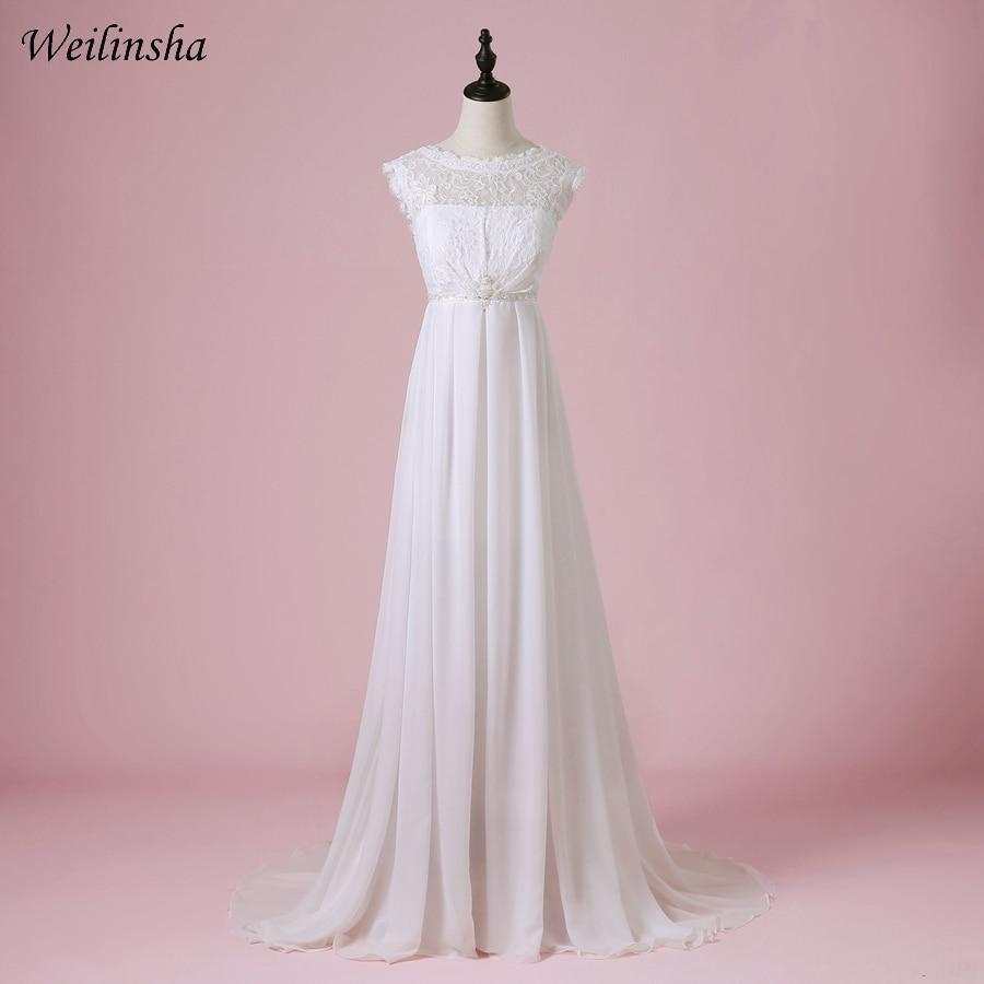 Weilinsha Cheap Chiffon Beach Wedding Dress 2019 Scoop A Line Summer Bridal Gowns Vestido de Noiva Pregnant Wedding Dresses-in Wedding Dresses from Weddings & Events    1