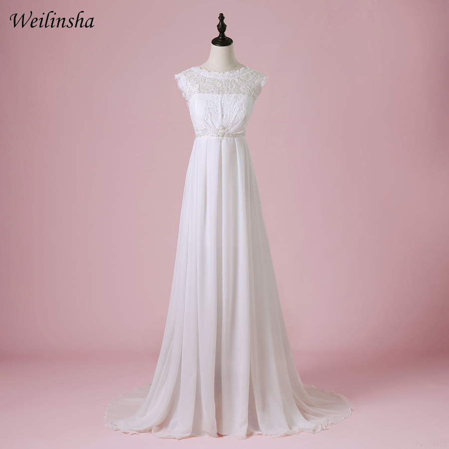 Weilinsha Cheap Chiffon Beach Wedding Dress 2019 Scoop A-Line Summer Bridal Gowns Vestido de Noiva Pregnant Wedding Dresses