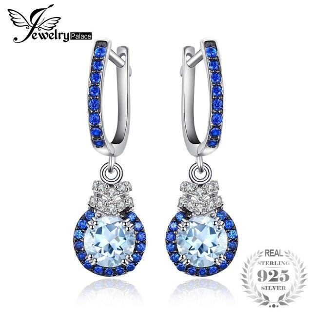 JewelryPalace Trendy klipsy 1.6 ct naturalne błękitny Topaz i utworzono niebieski Spinel 925 Sterling Silver biżuteria wysokiej jakości kolczyki