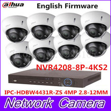 Auto Focus IP Dome Camera Dahua HDBW4431R-ZS 4MP 1080P POE 2.8-12mm lens Waterproof Onvif 8Channel  NVR4208-8P-4KS2 Web Camera