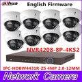 Enfoque automático cámara domo IP marca HDBW4431R-ZS 4MP 1080 p POE 2,8-12mm lente Onvif impermeable 8 canal NVR4208-8P-4KS2 cámara Web